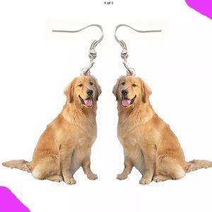 Golden retriever dog acrylic animal earrings